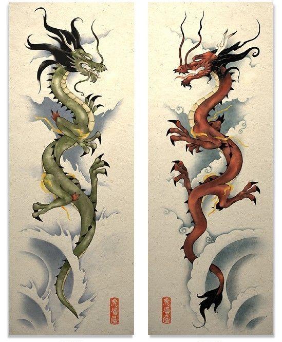 Arte oriental asiático Dragon rojo y verde cartel por TigerHouseArt