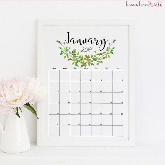 Wall Calendar 2019 Calendar Printable Botanical Calendar Monthly