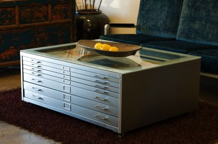 "Vintage steel architect's ""plan"" file customized for use as a coffee table."