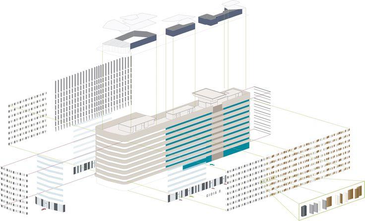 Park Associati facade planning for Gioiaotto. #ParkAssociati #HinesItalia #Milano #LeedPlatinum #PortaNuova #PNSC #SmartCommunity #MarcoZanuso #PietroCrescini #Refurbishment #Architecture #Design #InteriorDesign #OfficeDesign #Gioiaotto #ContemporaryArchitecture #Grid #Glass #Installations #Fins #ColouredGlass #Steel #Timber #2012 #2014 #Facade #Office #Hotel #EntranceHall #RoofGarden #Giardino #Facciata #View #Terrace #Finestre #Ufficio #Terrazza