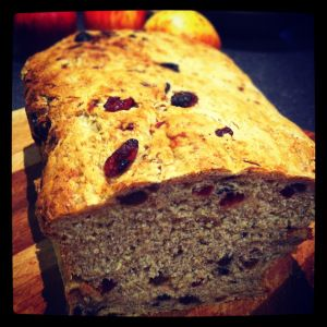 Wholemeal Fruit Bread 5g fresh or dried yeast 15g honey 300-350ml warm water or buttermilk 250g wholemeal flour 250g semolina flour 15g pink salt 1tsp mixed spice 1tsp ground cinnamon 180g mixed dried fruit (loaf pictured was 120g sultanas, 30g currants, 30g cranberries) extra flour and semolina flour mixed together for dusting