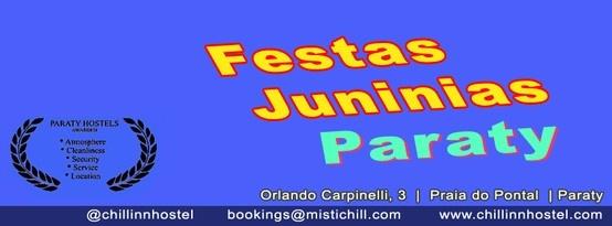 O mês de Junho em Paraty é caracterizado por danças, comidas típicas, bandeirinhas, quadrilhas, forrós, leilões, bingos e casamentos caipiras!! E uma boa oportunidade para você de vir a Paraty com os pacotes de hospedagem em Paraty - http://www.chillinnhostel.com/pt/Pacotes-hospedagem-paraty-pacotes-feriado-promocionais-75 - e desfrutar de um evento com muita felicidade no calido Chill Inn Hostel Pousada Paraty você pode aproveitar os descontos de hospedagem na Pousada em Paraty!