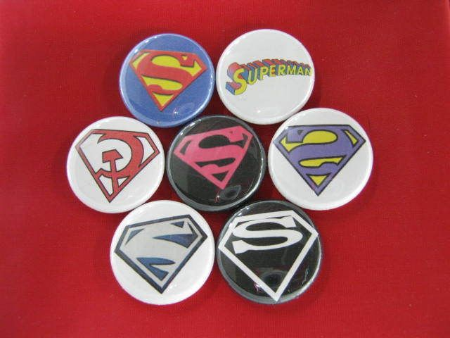 ODD SUPERMAN LOGOS Comic  Heros  NEW Set of 7 Select-a-Size of Pinback Buttons  #wtna