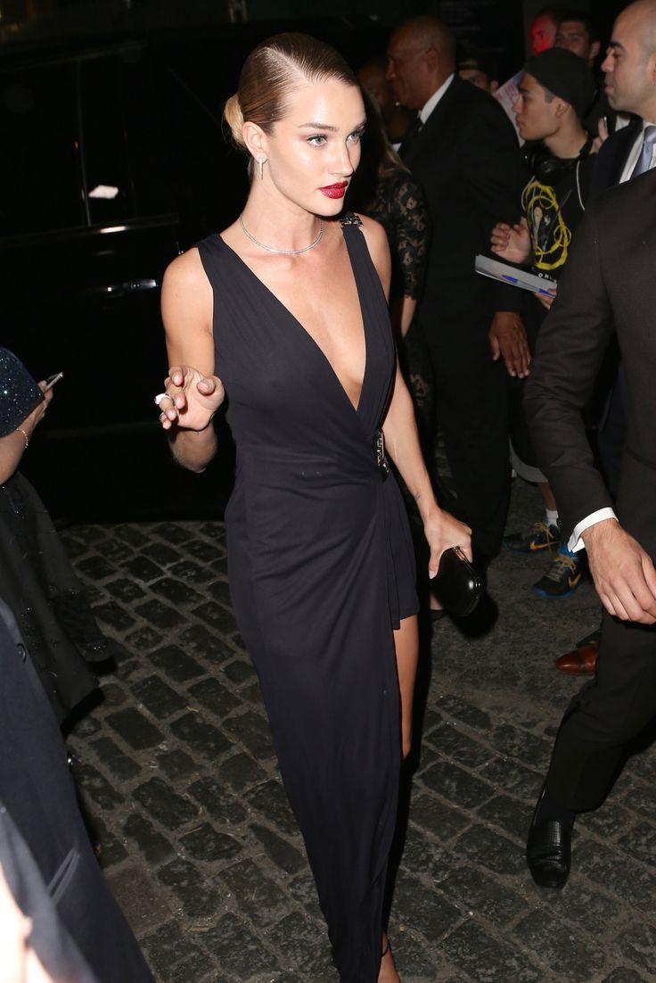 5/4/15 - Rosie Huntington-Whiteley wearing Versace - MET Gala after party in NYC