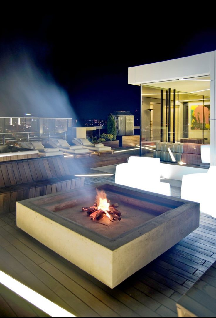 funky firepit and built-in bench.