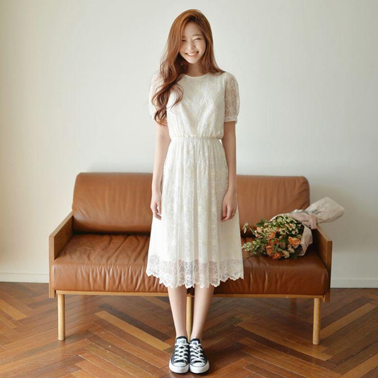 Дешевое 2015 летом средней длины полный шнурок белое платье элегантное платье с коротким рукавом Большой размер платье, Купить Качество Платья непосредственно из китайских фирмах-поставщиках: