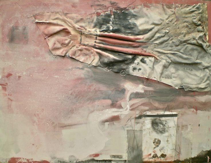 ELAINE d'ESTERRE - Detritus 1, 2004, pastel and gesso, canvas, staples and graphite frottage 92x120 cm by Elaine d'Esterre at http://elainedesterreart.com and http://www.facebook.com/elainedesterreart/ and http://instagram.com/desterreart/