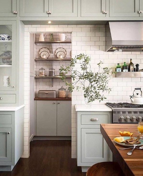 "652 Likes, 8 Comments - American Farmhouse Style (@americanfarmhousestyle) on Instagram: ""If you have a walk-in pantry, it's a good idea to make the shelves, cabinets and walls work with…"""