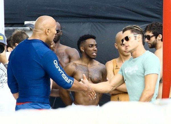 Dwayne Johnson Photos Photos - Stars are spotted on the set of 'Baywatch' filming in Miami, Florida on March 5, 2016. - Stars Perform on the Set of 'Baywatch'