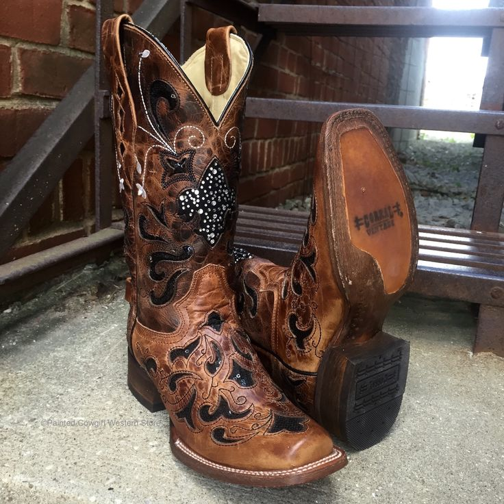 Corral Ladies Tan with Black Sequins Square Toe Boots A2840 | Cowby Boots and Western Clothing | Painted Cowgirl Western Store