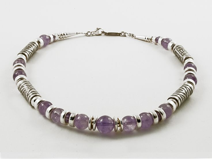 Junction Art Gallery - Anne Farag Lavender Amethyst Necklace, amethyst with etched silver £324.00 http://www.junctionartgallery.co.uk/artists/jewellery/anne-farag/lavender-amethyst-necklace