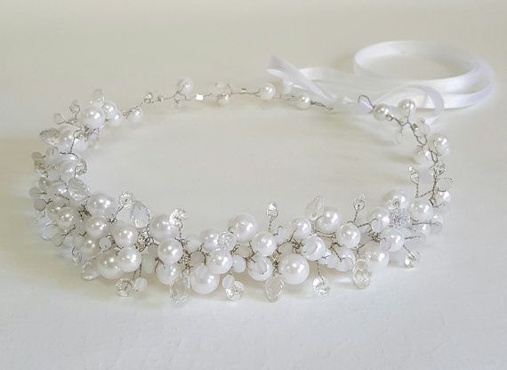 White Bridal Pearls CrownBridal TiaraWhite Pearls by CyShell