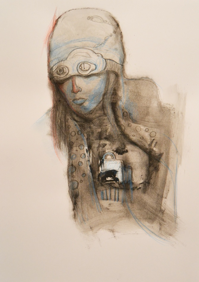 """""""La maschera della timidezza"""" - Michele Petrelli - oil, acrylic and pencils on wood ballasted"""
