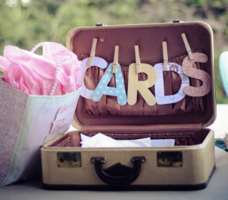 wedding cards; love the idea of a suitcase!