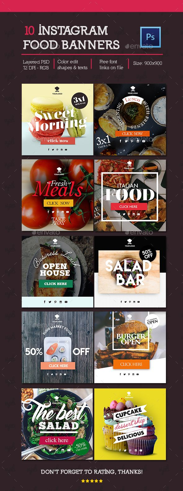 10 Instagram Food Banners — Photoshop PSD #food #shop • Available here → https://graphicriver.net/item/10-instagram-food-banners/16210566?ref=pxcr