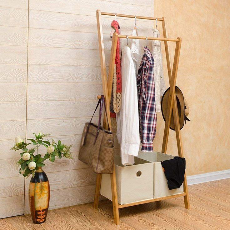 Standfuß Hängegestell Kleiderständer Schlafzimmer Boden   Montiert  Massivholz Kleiderbügel Doppel Rod Lagerregal Boden Stehmantel Und Hut
