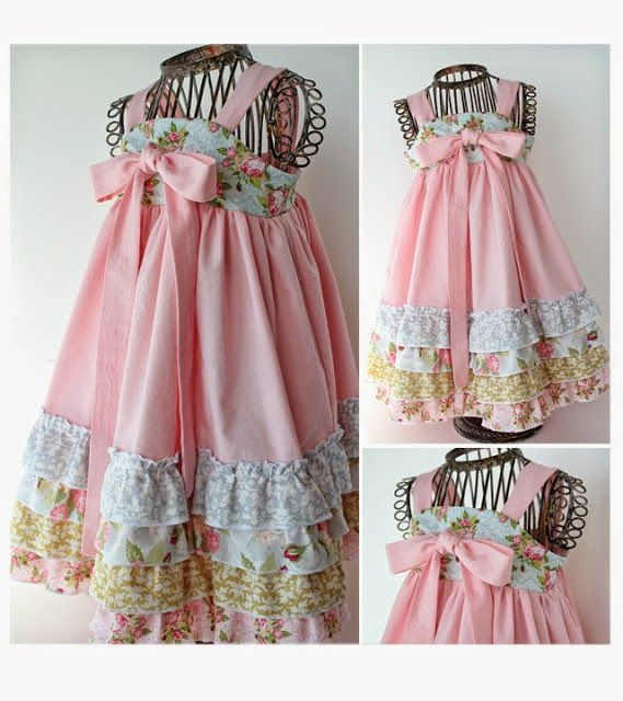 Luxurious cotton dress with knots and multiple frills , when they come together, it becomes a very fun little dress for the little girl. Get the free sewing tutorial for this pretty Multi Layer Knot D