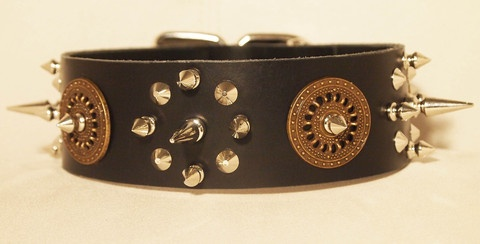 Custom Leather Dog Collar with Spikes and Studs