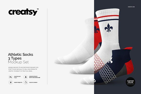 Athletic Socks 3 Types Mockup Set Athletic Socks Socks Mockup Design