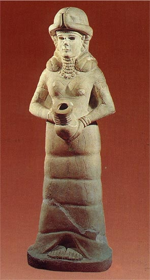 """For thousands of years, people throughout the Fertile Crescent venerated a deity who personified the Great Goddess. These ancient cultures were all polytheistic, acknowledging the existence of many deities, but they also recognized the feminine principle as primary for life, spirituality and consciousness. When we speak of this area as the """"cradle"""" of civilization, we subconsciously acknowledge the superior role the feminine principle played in the """"birth"""" of modern humankind."""