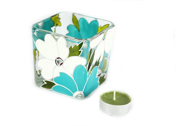 Hand Painted Glass Candle Holder Tea light by SylwiaGlassArt, $40.00