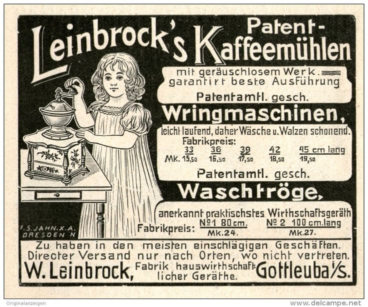 Original-Werbung/Inserat/ Anzeige 1903 - LEINBROCK'S PATENT KAFFEEMÜHLEN/WRINGMASCHINEN/WASCHTRÖGE ca. 90 x 80 mm