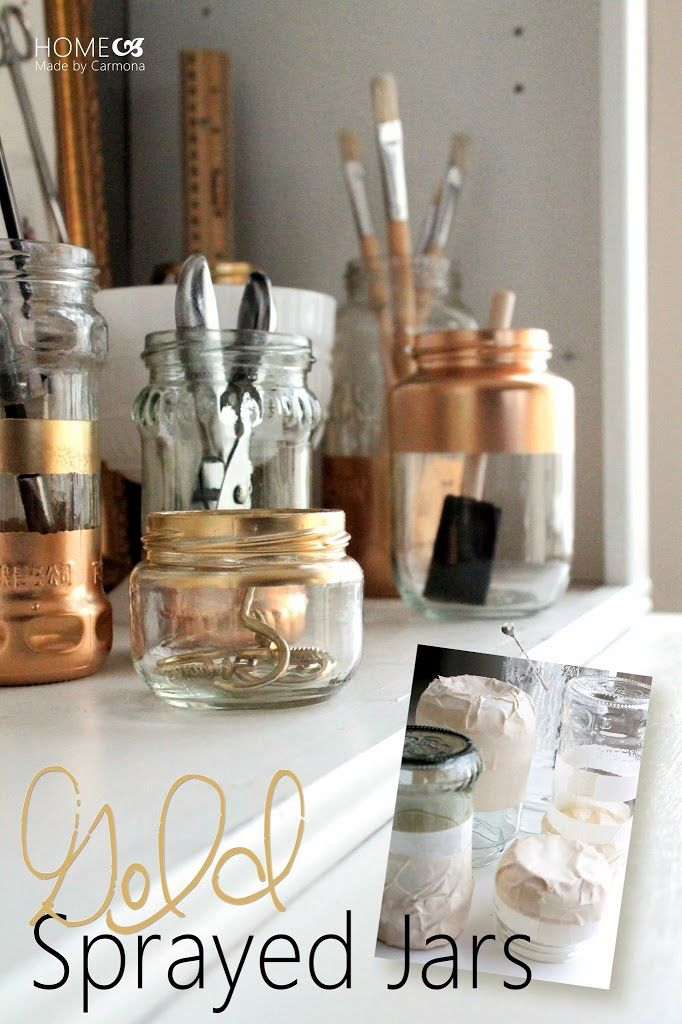 When a craft work space is as much display as it is function, you want your tools to be stored in an attractive manner. What better way to accomplish this than a few gold sprayed jars? Pretty, practical, mostly free, and it adds some sparkle? Why yes please!   Start by collecting a variety of …