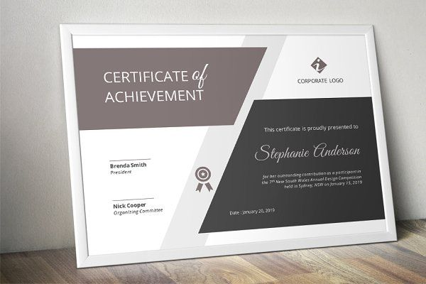 Big bar Word certificate template - Stationery
