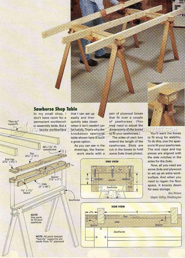 Build Sawhorse Table   Workshop Solutions Plans, Tips And Tricks |  WoodArchivist.com
