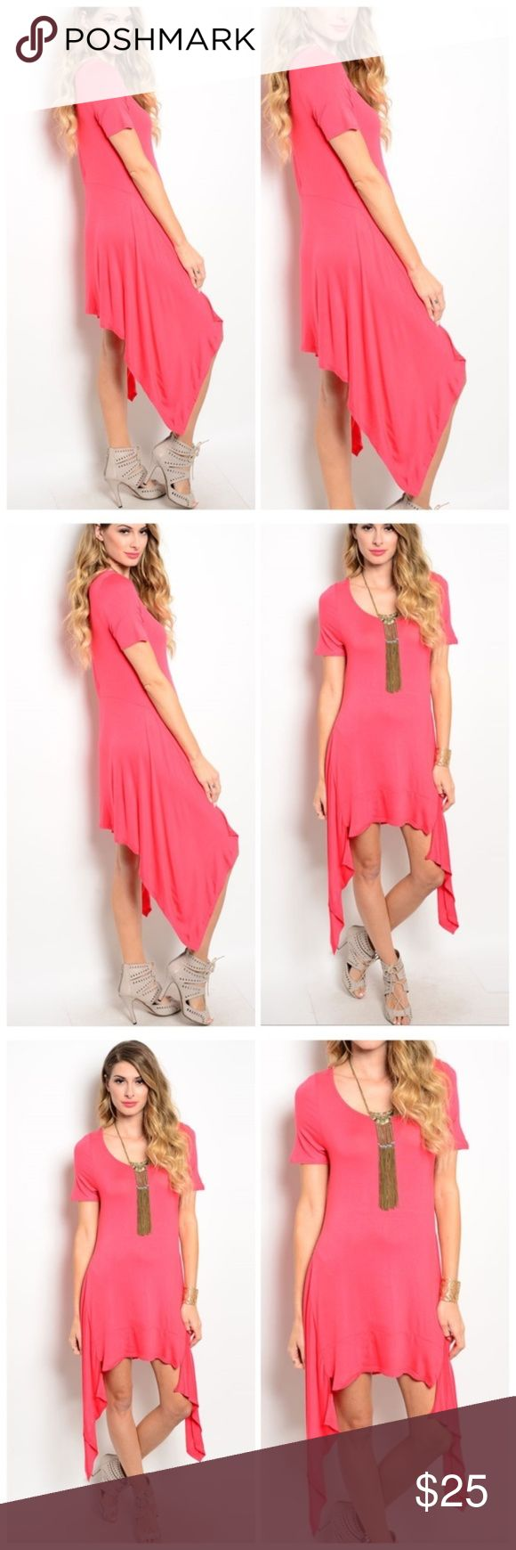 Women's Candice Bright Pink Short Sleeve Jersey Dr This short sleeve lightweight knit jersey dress features a relaxed fit and asymmetrical hemline. You are sure to standout and shine bright in this vibrant hue of pink! Extra soft and lightweight knit fabric made of 65%rayon and 35% viscose made this an easy choice for the spring and summer. This dr we fits true to size and has a nice gentle stretch. Pair this with your favorite sandals and a long necklace for a simple femme style! A warm…