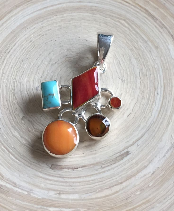 Freehand Sterling Silver Mosaic Pendant - Tejano