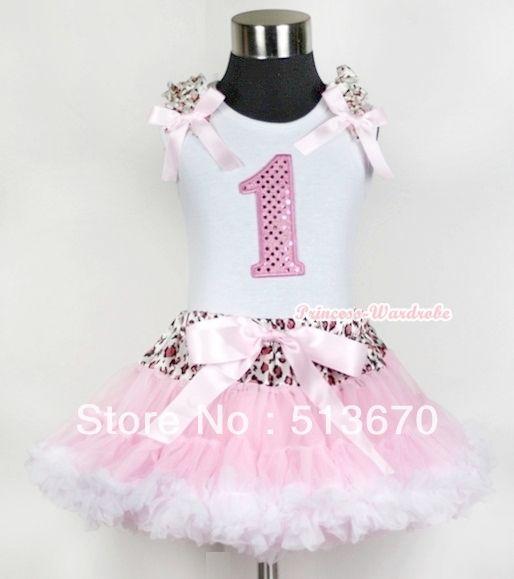 Белой майке первые розовый на день рождения номер и леопард узор-оборками-лук-женщины и светло-розовый леопард светло-розовый белый юбка MAMG433