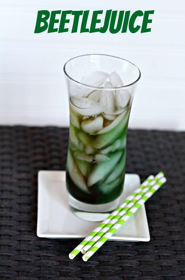 Beetlejuice inspired cocktail drink!  It tastes like the green apple Jolly rancher candies!