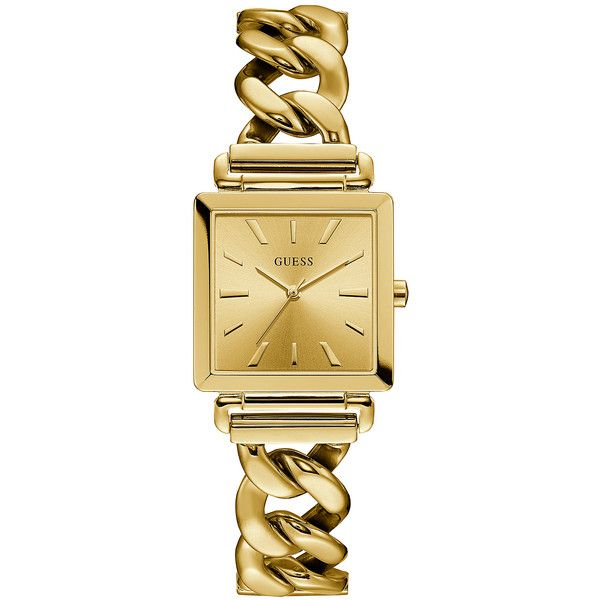 GUESS Gold-Tone Chain Watch (€105) ❤ liked on Polyvore featuring jewelry, watches, chain link watches, guess jewelry, guess wrist watch, analogue watch and gold tone jewelry