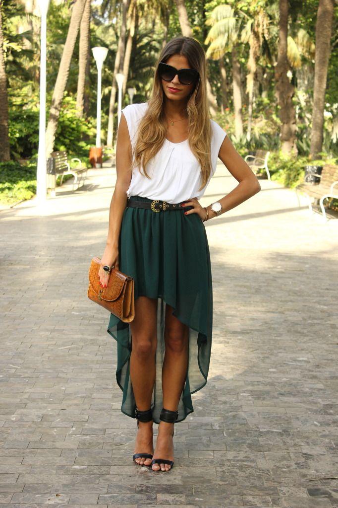 green high-low skirt