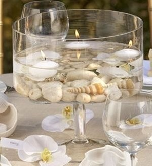 Shells and candels party-island-theme