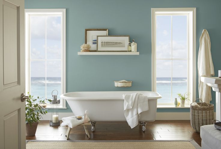 A bathroom becomes an almost magical sanctuary with In The Moment on its walls. Whether the bathroom's style is coastal or a mix of classic and modern, this blue-green hue takes on a calming aquatic vibe. Accent the room with hints of silver, white and sand to round out the soothing decor.
