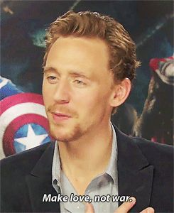 Ginger beard... ginger beard... love not war... Tom Hiddleston. *gif* Oh God that smile in the last gif! *swoon*