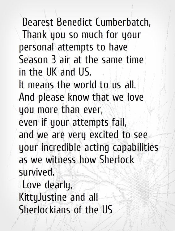 Yes, a MAJOR thank you is in order. Benedict is amazing for trying to make this happen. How many other actors do you know who would try and get this in action? This is exactly one of my reason why Benedict Cumberbatch is, and will always be, one of my favorite actors ever. Not just because of his talent (and he certainly has that) but also because of his kindness, devotion and personality.