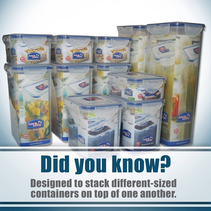 Did you know Lock & Lock containers are structurally designed to stack different-sized containers on top of another allowing 40% more space in the kitchen and refrigerator!