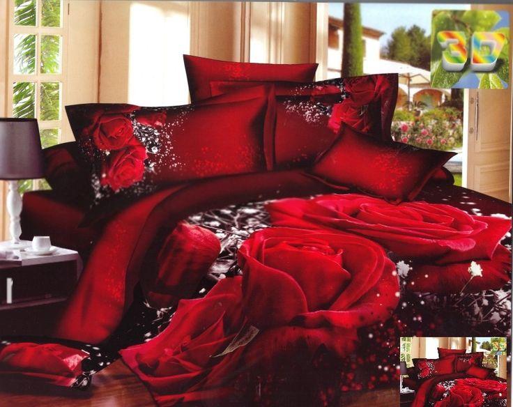 Pościel satyna bawełniana w kolorze bordowym na łóżko w czerwone róże
