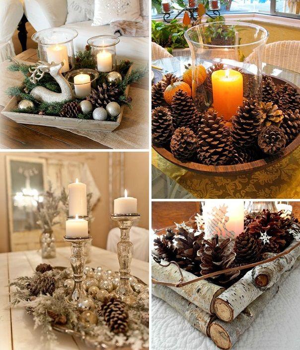 pinhas na decoração de natal - mesa                                                                                                                                                                                 Mais
