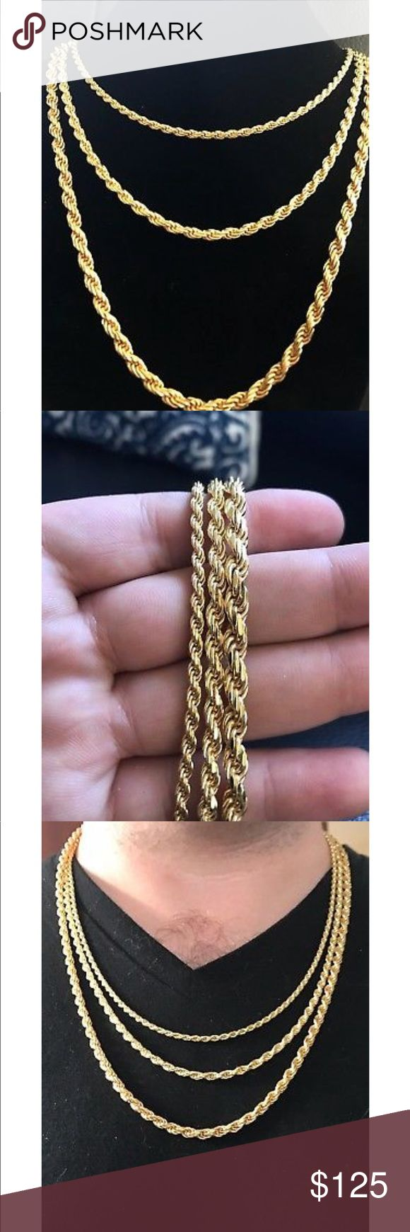 "14K Gold Over Solid 925 Silver Rope Chain 14K Gold Over Solid 925 Silver Rope Chain MADE IN ITALY 24"" 26"" 28"" 3-5mm UNISEX.                                         Thickness sizes available - 3mm 4mm 5mm                      Length sizes available - 24"" 26"" 28"" Accessories Jewelry"