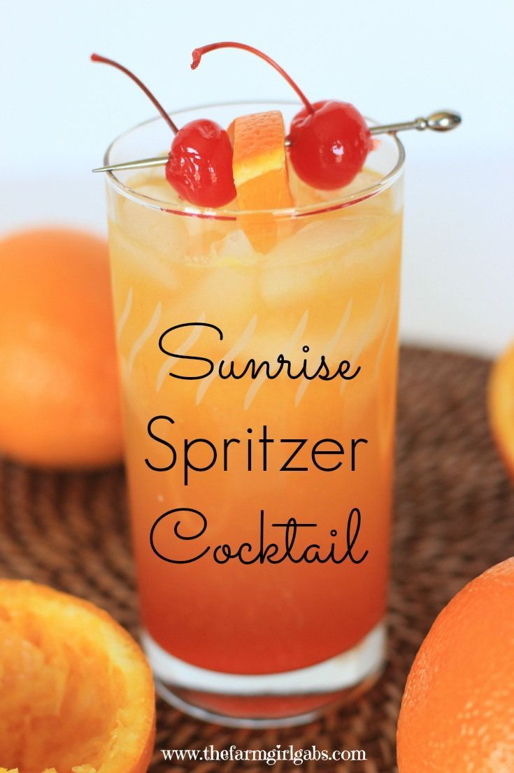 Sunrise Spritzer Cocktail / 1 cup Club soda or lemon lime soda / 1/2 cup Orange juice, fresh / 1 Ice cube / 2 tbsp Maraschino cherry, juice / 1 Orange slice and maraschino cherries / 1 oz Grand marnier liqueur / 2 oz Smirnoff vanilla vodka