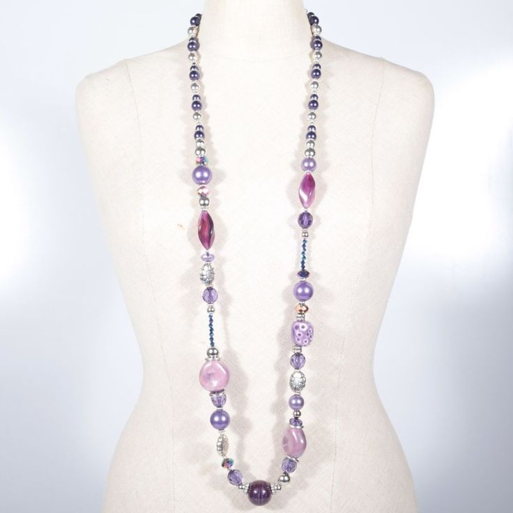 Lange Kette Halskette Lila Flieder Rosa Silber Perlen Mix Glasperlen Kunststoff