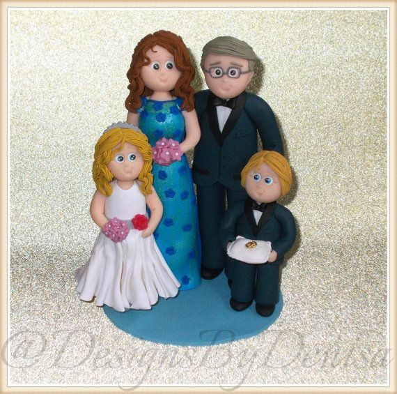Wedding Cake Topper Personalised Family Wedding by DesignsByDenisa