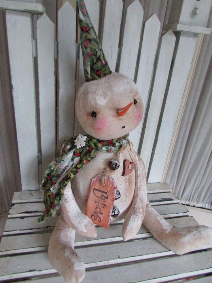 "Primitive Folk Art Winter Christmas Snowman Doll ""Believe"" #HandMade"