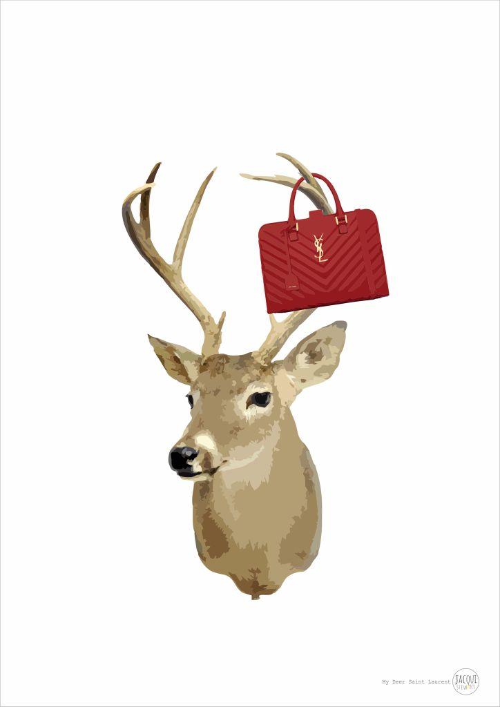 My Deer Saint Laurent | archival designer print visit www.jacquistewart.com.au