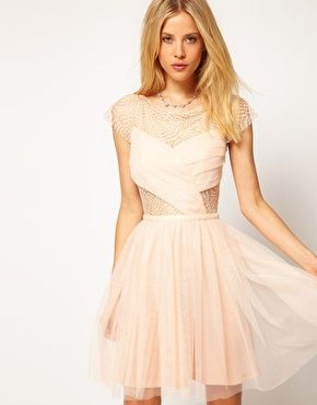 Image 1 ofASOS Skater Dress with Cobweb Lace....kels this should totally be your bach. party dress (looking for dresses is so much better than doing work for grad school)