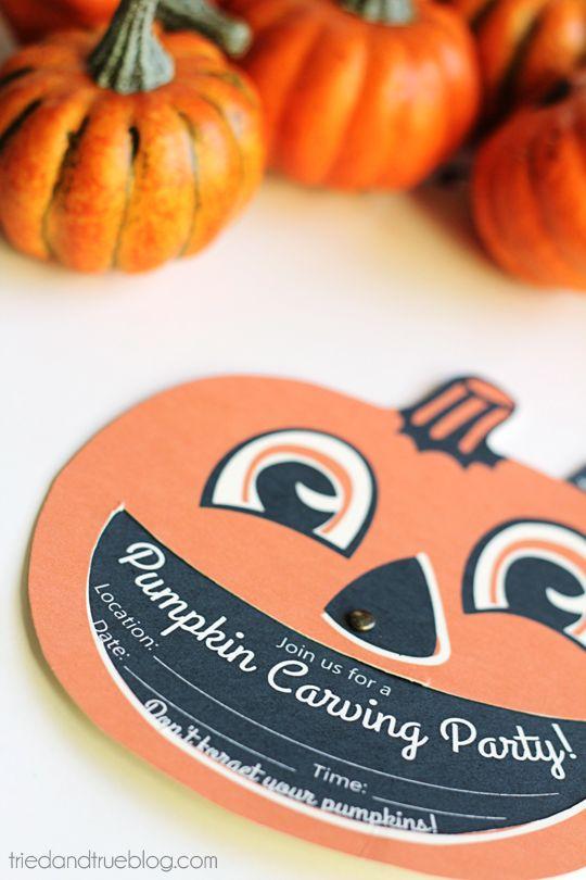 Pumpkin Carving Party - Super cute invite from Tried & True